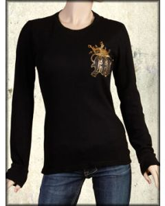 Motor City Legends Knight Armor Diamond Shield Gold Foil Womens Long Sleeve Thermal Shirt in Black - Size Large Left
