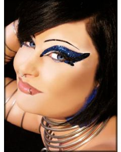 Xotic Eyes Twisted Tattoo Art Glitter Womens Eye Shadow and Black Faux Lashes Kit Reusable Makeup in Navy Blue Black and Silver
