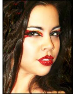 Xotic Eyes and Body Art Lip Kisses Tattoo Glitter Womens Lipstick Reusable Makeup in Red