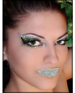 Xotic Eyes and Body Art Lip Kisses Tattoo Glitter Womens Lipstick Reusable Makeup in Silver
