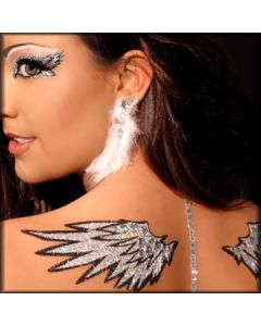 Xotic Eyes and Body Art Angelic Angel Wings Peel and Stick Tattoo Glitter Womens Reusable Waterproof Makeup in Silver
