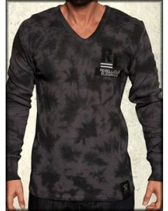 Rebel Spirit Griffin Medieval Patch Mens Long Sleeve Thermal Shirt in Black Ashes Wash - SIZE LARGE