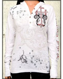 Rebel Spirit Faithful Red Cross Ornate Rhinestones Womens Long Sleeve Button Up Henley Thermal Shirt With Hoodie in White - SIZE XL