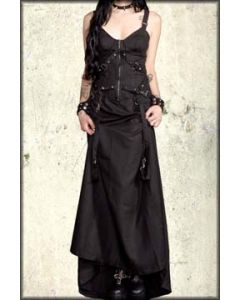 Lip Service Destructive Metal Studded D Ring Straps Womens Zipper Front Bustier Long Length Dress in Black - Only XS Left