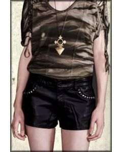 Lip Service Spiked Silver Pyramid Studded Pockets Bycast Leather Womens Shorts in Black