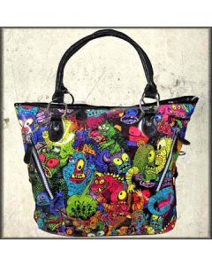 Iron Fist Party Monster Sci-Fi Alien Creatures Dinosaurs Colorful Pop Art Womens Large Tote Handbag in Black Pleather
