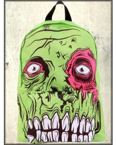 Iron Fist Zombie Chomper Skeleton Monster Colorful Pop Art Large Backpack in Green and Black