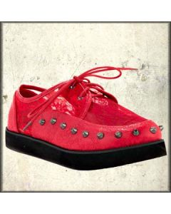 Iron Fist Love Lace Metal Studded Womens Lace Up Creepers Shoes in Coral Red