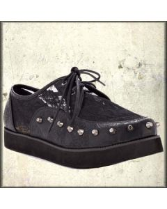 Iron Fist Love Lace Metal Studded Womens Lace Up Creepers Shoes in Black - Size 9 Left