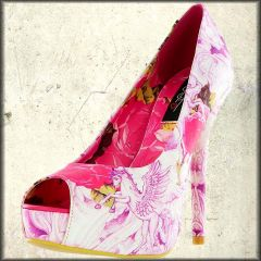 Iron Fist Cotton Candy Rabbit Unicorn Deer Dolphin Roses Fantasy Pop Art Womens Platform Peep Toe Pumps in Pink