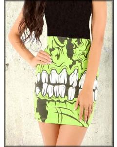 Iron Fist Zombie Chomper Monster Skeleton Pop Art Stretch Womens Mini Skirt in Green and Black - SIZE XXL