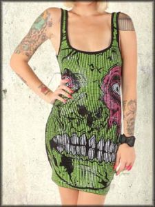 Iron Fist Zombie Chomper Monster Skeleton Pop Art Stretch Womens Sequins Tank Mini Dress in Black- SIZE MEDIUM