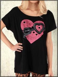 Iron Fist Love Shot Pink Heart Shaped Holes Revolver Gun Pistol Distressed Loose Fit Womens Short Sleeve Scoop Neck T-Shirt in Black - Up To Size XXL