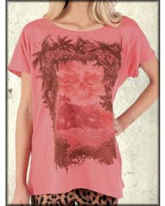 Iron Fist Skull Island Pirate Ship Tropical Beach Womens Short Sleeve Scoop Neck T-Shirt in Coral Peach - Up To Size XXL