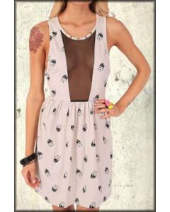 Iron Fist Skull A Dot Skulls Sheer Mesh Collage Pop Art Womens Knee Length Dress in Nude Beige - Sizes Small & XL Left