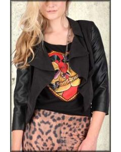 Iron Fist Creepy Rose Faux Leather Womens Cropped Waist Length Blazer Jacket in Black