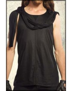 Widow by Lip Service Stitched Seam Wrapped Scarf Mens Tank Top in Black