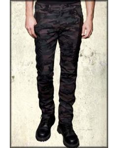Lip Service High Caliber Mercenary Leather Patch Panel Military Style Modern Industrial Stretch Mens Skinny Jeans in Dark Camouflage Green - SIZE 28