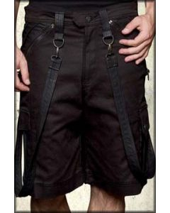 Lip Service Under Siege Leather Patch Panel Military Bondage Removable Straps D-Rings Modern Industrial Stretch Mens Cargo Shorts in Black - SIZE 28