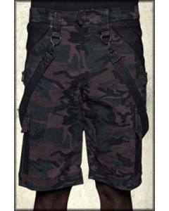 Lip Service Under Siege Leather Patch Panel Military Bondage Removable Straps D-Rings Modern Industrial Stretch Mens Cargo Shorts in Camouflage Green