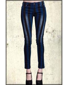 Lip Service Black Stripes Hand Painted Stretch Distressed Denim Needle Fit Womens Skinny Jeans in Medium Blue Wash