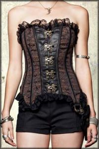 Lip Service Gun Holster Ornate Brocade Heavy Metal Hardware Steel Boning Bycast Leather Lace Up Back Womens Strapless Corset Top in Brown