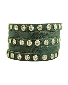 Hard Wear Python Snake Skin Animal Print Rhinestones Studded Banded Genuine Leather Cuff Wide Bracelet in Blue