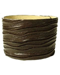 Hard Wear Deadwood Embossed Grain Weathered Aged Look Genuine Leather Cuff Wide Bracelet in Brown