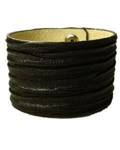 Hard Wear Deadwood Embossed Grain Weathered Aged Look Genuine Leather Cuff Wide Bracelet in Black