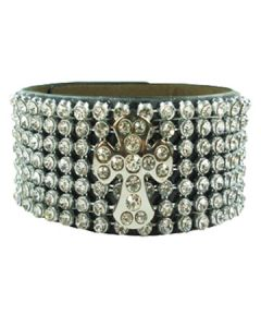 Hard Wear Praise Metal Cross Crystal Rhinestones Studded Genuine Leather Cuff Wide Bracelet in Black