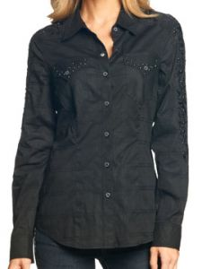 Affliction Rock Out Dome Metal Studded Military Inspired Womens Long Sleeve Button Up Woven Dress Shirt in Black - SIZES XS-L