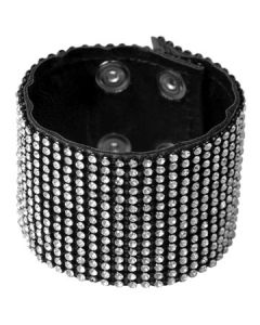 Hard Wear Silver Stone Crystal Rhinestones 15 Rows Embellished Studded Genuine Leather Cuff Bracelet in Black