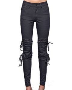 Lip Service Lace Off Corset Style Lace Up Metal Grommets Stretch Denim Junkie Fit Womens Skinny Jeans Pants in Jet Black