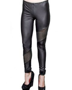 Lip Service Disco Glitter Mesh Sequins Sewn Panel Accents Stretch Womens Matte Faux Leather Leggings Pants in Black