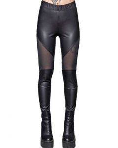 Lip Service Fashion Victim Black Sheer Mesh Sewn Panels Stretch Womens Long Matte Foil Leggings Pants in Black