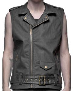 Lip Service Snake Motorcycle Style Faux Leather Mens Zip Front Sleeveless Vest in Black