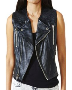 Kill City Chaos Couture Sideline Genuine Leather Side Cut Out Motorcycle Style Womens Zip Front Vest in Black