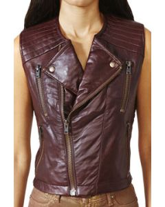 Kill City Chaos Couture Sideline Genuine Leather Side Cut Out Motorcycle Style Womens Zip Front Vest in Dark Red