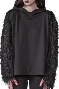 Widow by Lip Service Hellhound Monster Fur Faux Shag Womens Long Sleeve V-Neck Pull Over Hoodie Sweater in Black