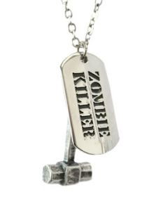 Hard Wear Zombie Killer Mallet Hammer Dog Tag Unisex Pendant and Chain Necklace in Silver