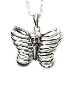 Hard Wear Caged Skull Skeleton Ribcage Butterfly Shape Unisex Pendant and Chain Necklace in Silver