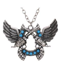 Hard Wear Six Shooter Crossed Guns Angel Wings Turquoise Silver Crystal Western Pendant and Chain Necklace in Silver