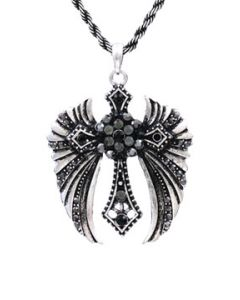 Hard Wear Sacred Cross Angel Wings Black Stone Gemstone Pendant and Chain Necklace in Silver