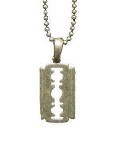Hard Wear Metal Razorblade Unisex Pendant and Chain Necklace in Silver