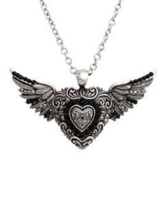 Hard Wear Adorn Heart Angel Wings Ornate Filigree Black Gemstones Pendant and Chain Necklace in Antique Silver