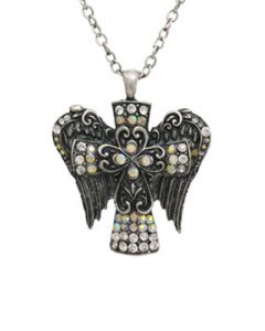 Hard Wear Divine Cross Angel Wings Ornate Filigree Celtic Crystal Gemstones Pendant and Chain Necklace in Antique Silver
