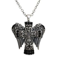 Hard Wear Divine Cross Angel Wings Ornate Filigree Celtic Black Crystal Gemstones Pendant and Chain Necklace in Antique Silver