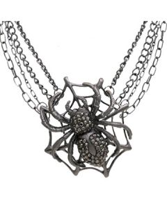 Hard Wear Black Widow Spider Web Hematite Crystal Gemstones Pendant and Chain Necklace in Antique Silver
