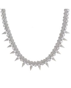Hard Wear Punk Glamour Metal Spiked Crystal Gemstones Chain Womens Necklace in Silver