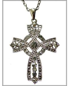 Hard Wear Celtic Cross Hematite Crystal Ornate Unisex Pendant and Chain Necklace in Silver
